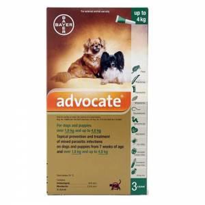 Advocate Flea & Heartworm Spot-on For Dogs S (4kg or less)-(ADVOX-3-SD)