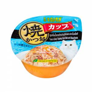 CIAO Grilled Skipjack Cup, Tuna in Gravy Topping Crab Stick and Sliced Bonito Wet Cat Food, 70 gms-(C100-8064)