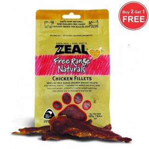 Zeal Free Range Naturals Dried Chicken Fillets - Treats For Dogs & Cats, Pack Of 3 At Price Of 2-(ZCF01-K3)