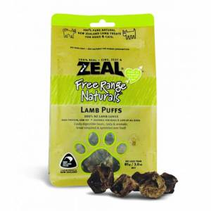Zeal Free Range Naturals Dried Lamb Puffs - Treats For Dogs & Cats-(ZLP01)