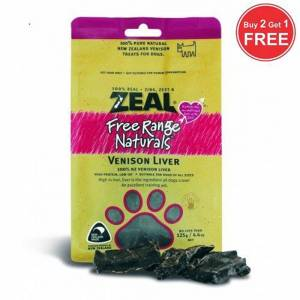 Zeal Free Range Naturals Dried Venison Liver - Dog Treats, Pack Of 3 At Price Of 2-(ZVL01-K3)